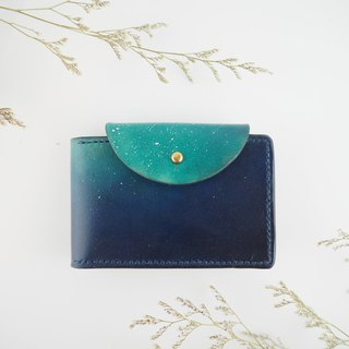 Handmade Leather Card Holder Business Card Holder Little Star Dark Blue