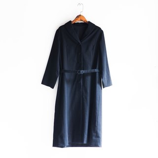 River Hill - Toyama deep dark classic black silk dress neutral plain coveralls overalls oversize vintage Japanese