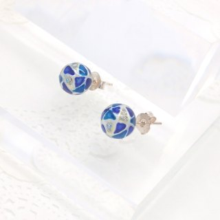 10mm Glass-painted Sterling Silver earrings - Pearl white line, Blue
