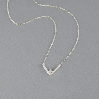 V Necklace,Sterling Silver,CZ Diamond
