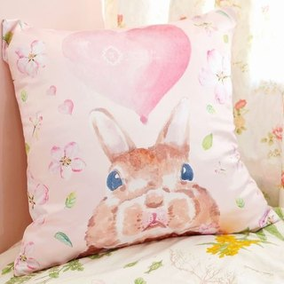 Stay lovely natural pink color affection rabbit pillow / Standard Size / with printing service name