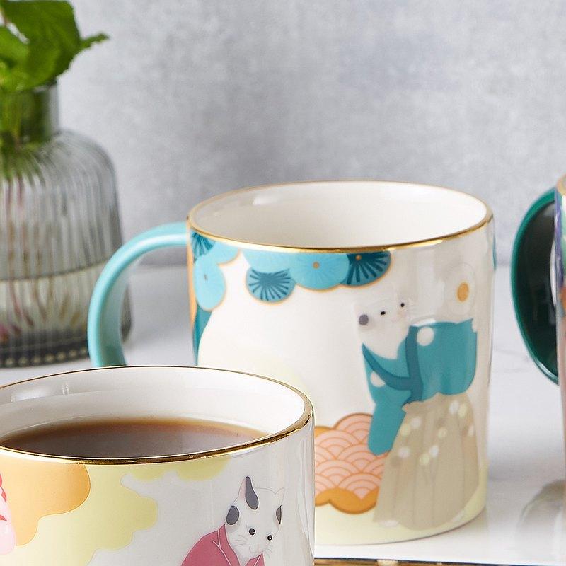 日本浮世繪貓咪與松樹-吉祥貓馬克杯(松)