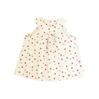 Little Girls Creamy Cherry Blossom Sleeveless Top - 100% Cotton - Handmade Children's Clothes