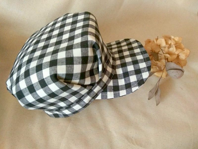 黑白格紋優雅摺襉報童帽