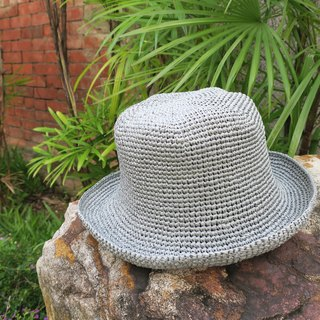 A mother の hand made hat - summer La Fei straw hat - retro square fisherman hat / simple gray / wild section / picnic / gift