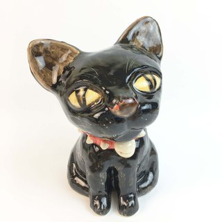 Nice Little Clay Stereo Hand Ornament_Red Rivet Collar Black Cat 0501-05