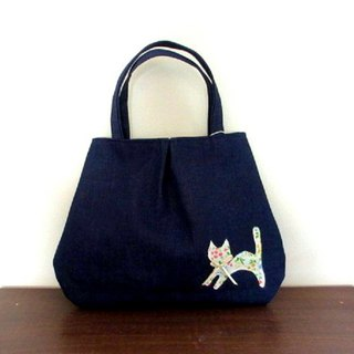 Handbag bag with flower pattern with cat and flower denim