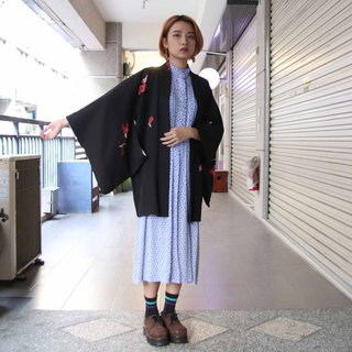Tsubasa.Y Ancient House 007 safflower blooming hand-painted black feather woven, blouse jacket kimono Japanese style