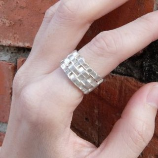 Woven wide sterling silver ring 19