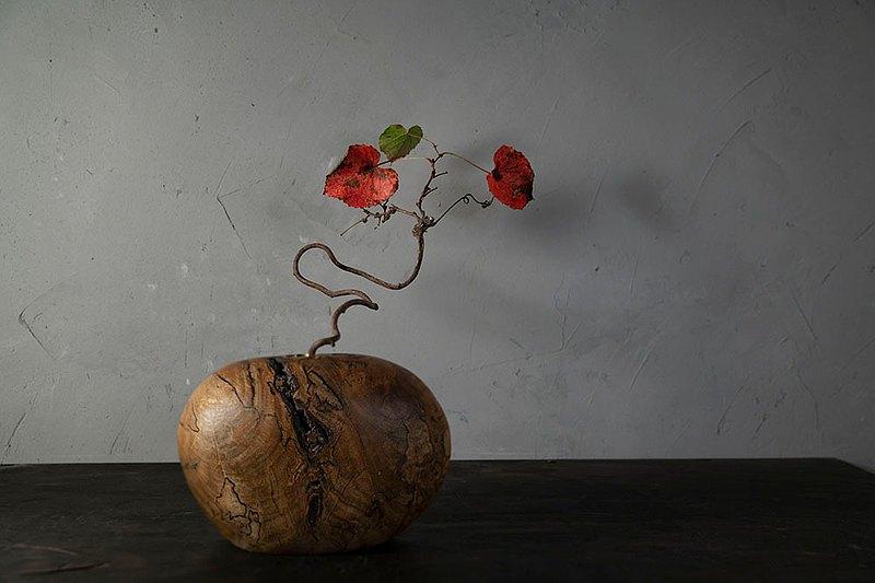 手工木製花器花瓶插花日式花道擺飾044號楠木天然漬紋