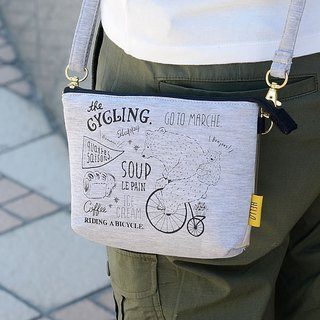 Hello Marche. Parent-child bear canvas cross-body phone bag PAN delicious / bicycle PINE