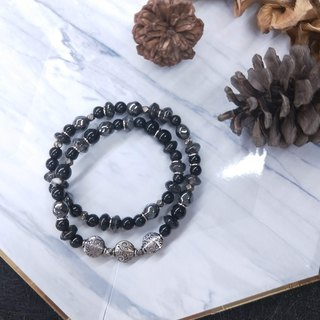 Bracelet. Black hair crystal*black glass*black gallstone * double circle bracelet