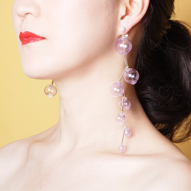 YUNSUO-original design-Transparent glass ball asymmetric clip earrings