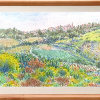 Watercolor painting Enicida's blooming hill