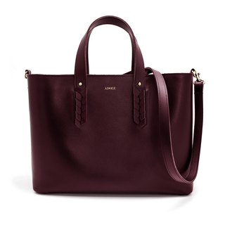 【ADOLE】 Laurel weave - cowhide tote bag - burgundy