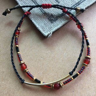 "~ Rice + bear ~ ""brass"" red and black double elbow bracelet bracelet / anklet"