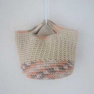 Cotton bag,natural color,mini,hand-knit
