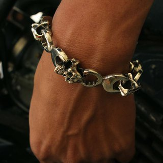 Bracelets Bangle skull Biker wrench Spanner Silver Heavy Men's Punk Rock Gothic