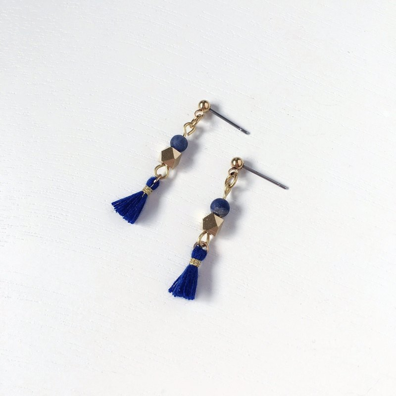 Brilliant ◆ [gravel series] Mercury mini natural blue stone sand surface tassel brass earrings ear ear clip