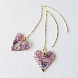 lavender neon-coloured big heart pierced earrings or clip-on earrings