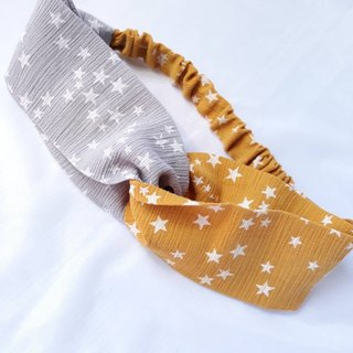 Yellow-gray double-colored star pattern handmade hair band