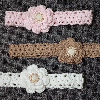 Baby knitting flower headband 100% organic cotton, hand-woven wool