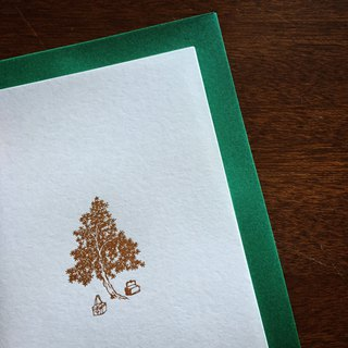 Christmas card mustard garden picture / green envelope