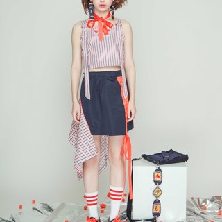Asymmetrical stitching design elastic waist-knitted ribbon webbing blue skirt