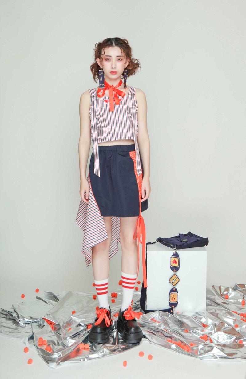不對稱拼接設計松緊腰撞色織帶藏藍色短裙