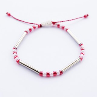 White red seed beads silver tube string bracelet