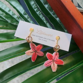 Littdlework embroidered earrings ear clip ear hook | flower series