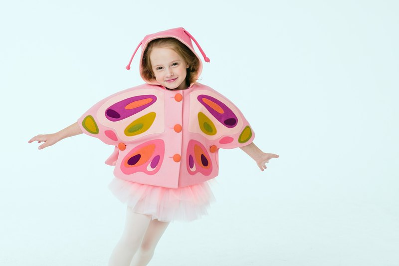 Girls Pink Butterfly Cape