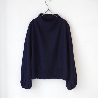 [Made in Japan] Mini Bukure Build Neck Puff Sleeve Pullover - navy