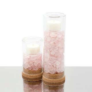 Natural Rose Quartz Candle Holder 天然粉水晶燭台-套組