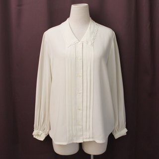 Vintage Japanese Simple Double Layer Lapel White White Loose Long Sleeve Vintage Shirt VintageBlouse