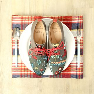 Picasso fell into the gray forest patch derby shoes / Japanese cloth / shoes / handmade custom / M2-15345F