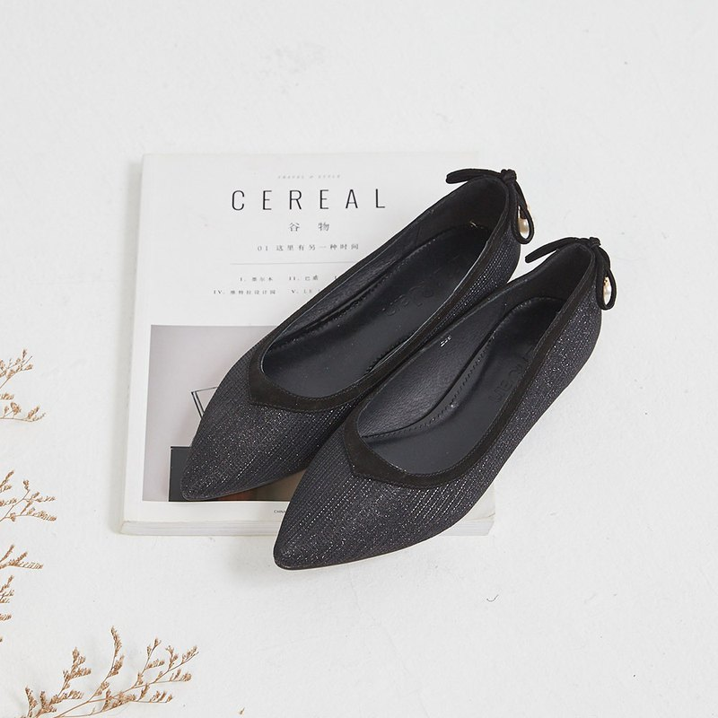 [Crystal sparkling wine] soft Gretel pearl bow bow pointed shoes _ night stars