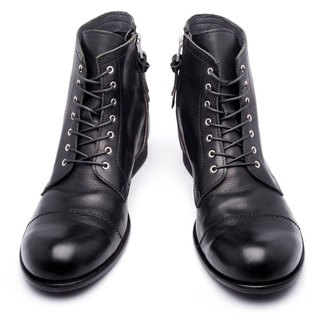ARGIS Japan pure leather rough high-heeled military boots #22230 black - Japanese handmade