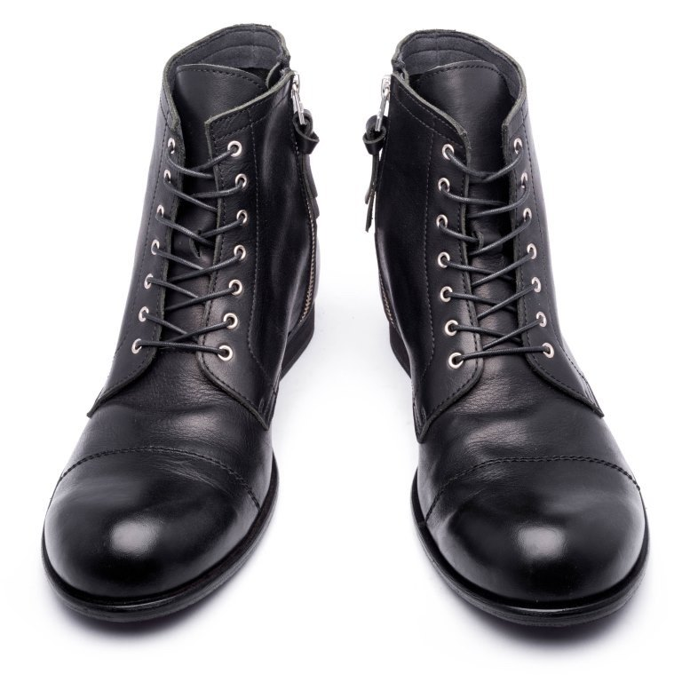 ARGIS Japan pure leather rough high-heeled military boots  22230 black - Japanese  handmade - Designer ARGIS Japan Handmade Leather Shoes  55bd5275f64