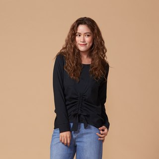 Organic Cotton Top Black Crew Neck Long Sleeve/Front Tie Top (woman/woman) Organic Cotton