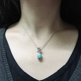 Rose Design Turquoise Pendant Handmade in Nepal 92.5% Silver