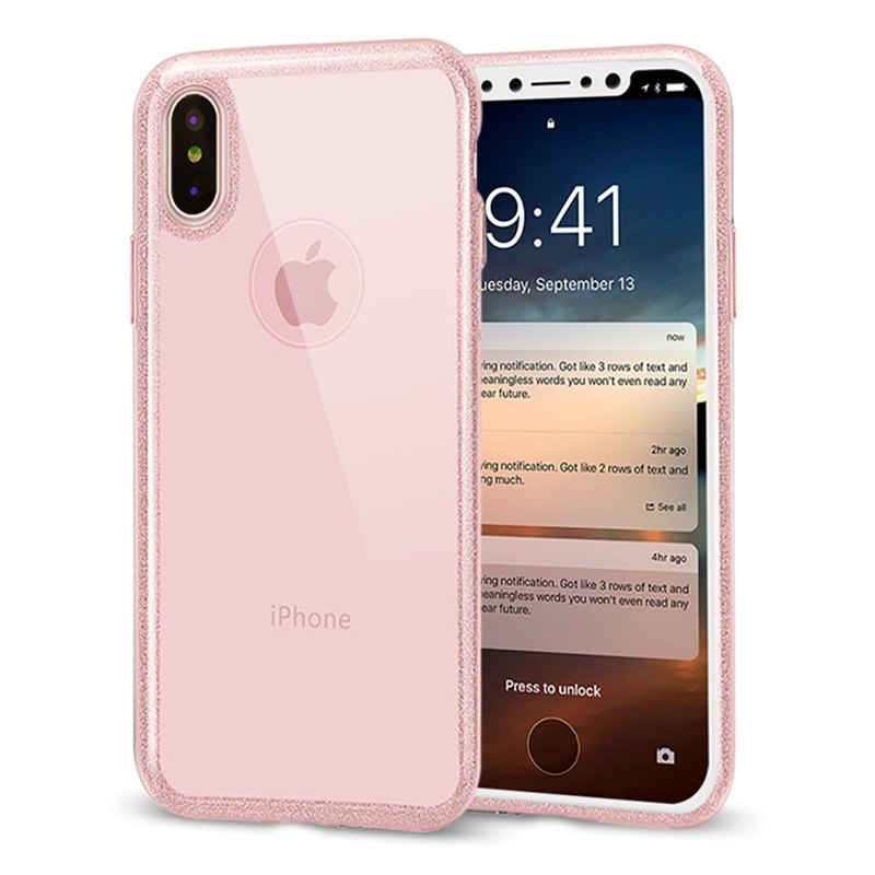 AOORTI :: Apple iPhone X/8/7 All-Purpose Transparent Anti-Stop Phone Soft Case - Sequin Frame (Send Corning Glass Protector)