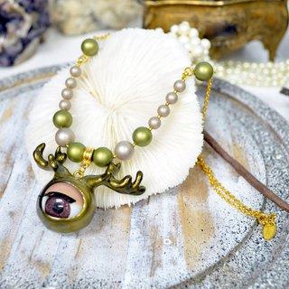 TIMBEE LO gold antlers eyeball necklace monster series shell pearl plated gold necklace