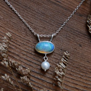 Natural Australian Velvet Light Blue Opal Necklace