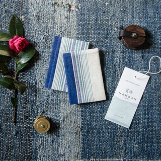 Sealing | ancient early hand-woven cloth handmade plant dyed stripe business card package linen rain dew natural blue dye
