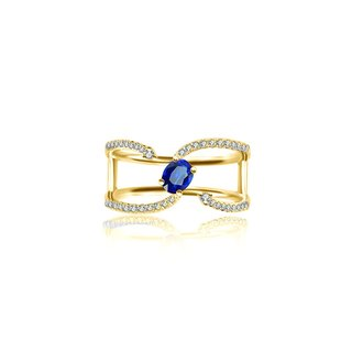 Single Sapphire Connected Diamond Ring