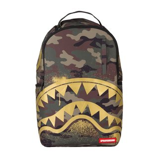 [SPRAYGROUND] DLX Series Gold Stencil Shark Camo Gold Camouflage Shark Trends Backpack