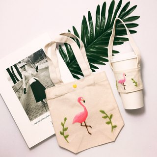 Wool Felt Embroidery Red Crane Green Bag Green Cup Set