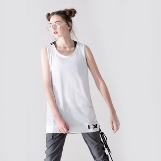 UNISEX LACE UP HEM TANK TOP / White