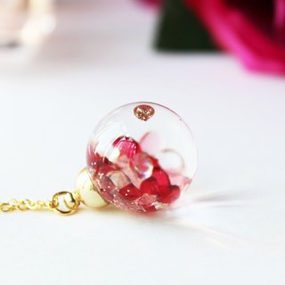 * Rosy Garden * Shiny Rosy red and pink crystals water inside glass ball necklace